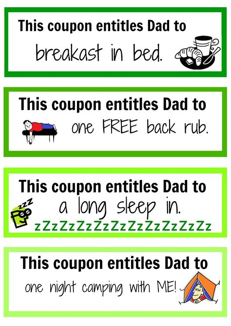 printable gift certificates for dad father s day coupon booklet free printable father and