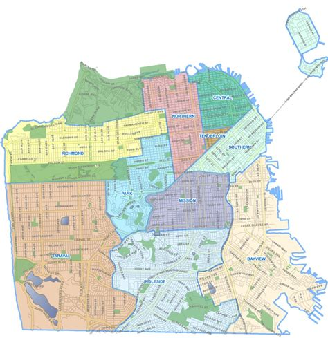 san francisco map by district sfpd re drawing district lines to reflect population