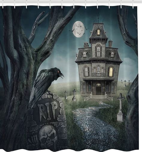 haunted house curtains spooky raven haunted house fabric shower curtain