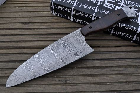 Handcrafted Chef Knives - handmade damascus chef knife cfw perkin