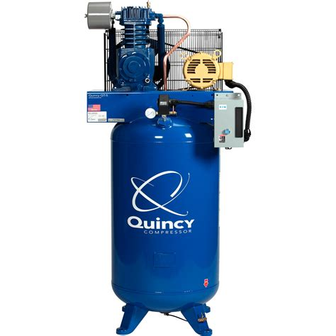 free shipping quincy reciprocating air compressor 5 hp 460 volt 3 phase 80 gallon