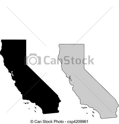 california map line drawing vector clip of california map black and white