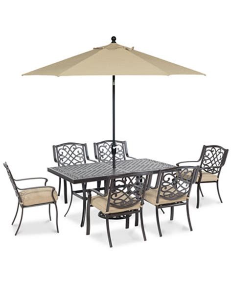 Macys Patio Dining Sets Park Gate Outdoor Cast Aluminum 7 Pc Dining Set 68 Quot X 38 Quot Dining Table And 6 Dining Chairs