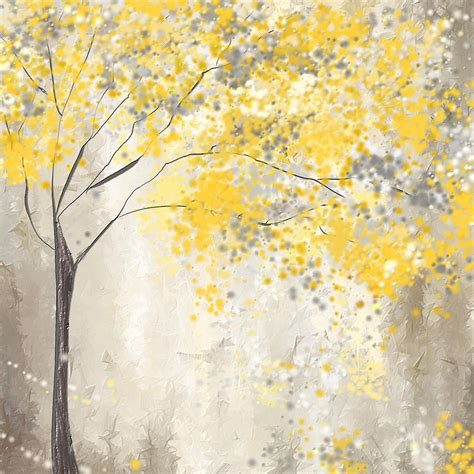 yellow and grey yellow and gray tree painting by lourry legarde