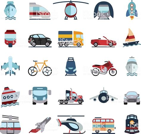 transport vehicles transportation vehicles flat icons stock vector