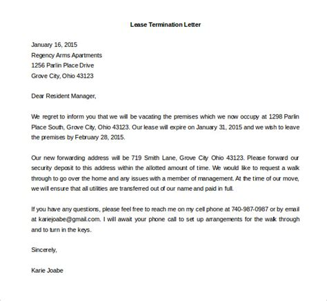 Termination Of Residential Lease Letter lease termination letter template business