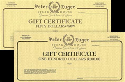 Peter Lugers Gift Card - gift certificates