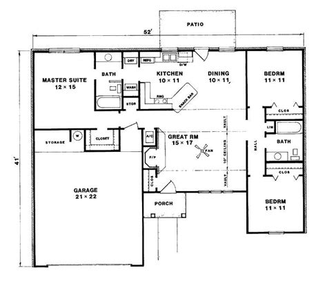 3 bed bungalow floor plans lovely three bedroom bungalow house plans new home plans
