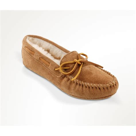 moccasins house shoes women s minnetonka moccasin sheepskin softsole moccasin slippers 657750 slippers at