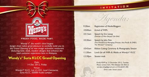 invitation card design for restaurant worthy book wendy s opens 10th outlet in malaysia