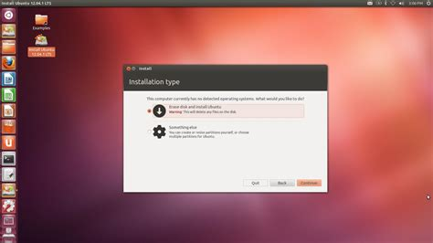 system installation  ubuntu erase   current os