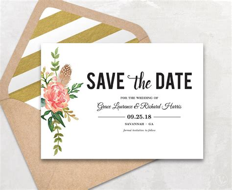 date card templates save the date template floral save the date card boho save