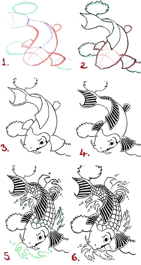 Drawing Koi Fish koi fish drawing steps by wenwecollide on deviantart