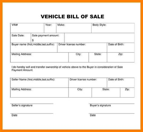 simple bill of sale for car template simple bill of sale exle