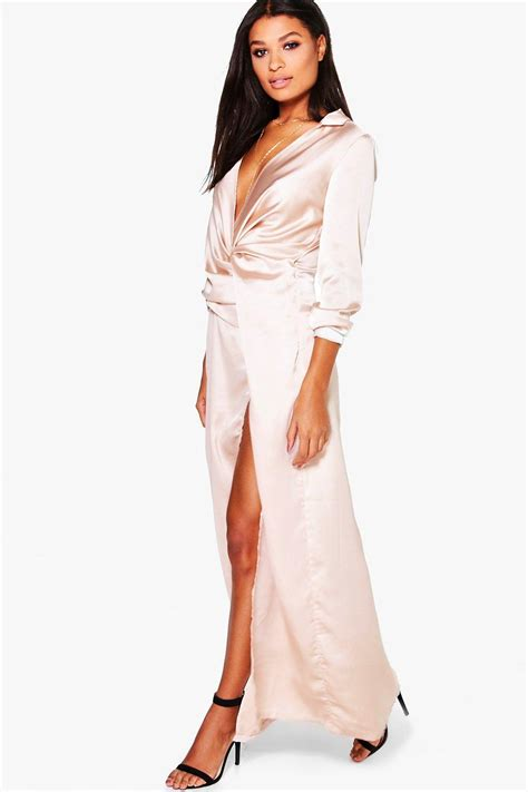 New Dress Satin boutique iona satin wrap detail maxi dress at boohoo