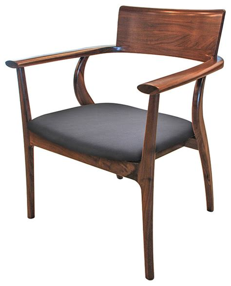 Dining Chairs Industrial Alfie Mid Century Modern Walnut Black Leather Dining Arm Chair Industrial Dining Chairs By