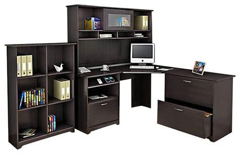 Bush Cabot Corner Computer Desk Bush Cabot 4 Corner Computer Desk Office Set In Espresso Oak Transitional Desks And