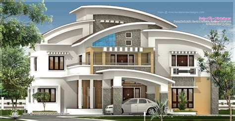 Luxury Home Plans With Pictures | 3750 square feet luxury villa exterior kerala home