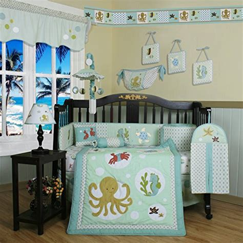 13 Piece Sea Animals Baby Bedding Crib Sets Neutral Unisex Starfish Crib Bedding