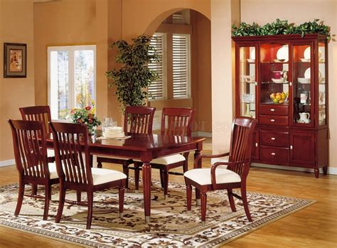 cherry dining room tables cherry finish casual contemporary dining room w chrome accents
