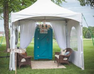 backyard wedding trailer accessorizing ideas for your portable bathrooms at a wedding