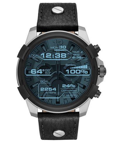 Diesel ON Men's Full Guard Black Leather Strap Smart Watch