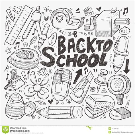 doodle school free doodle back to school element stock vector illustration