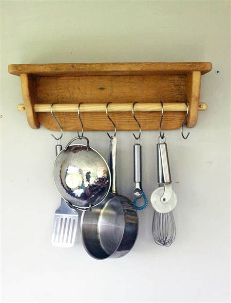 Kitchen Pan Rail Antique Wooden Kitchen Utensil Pan Rail