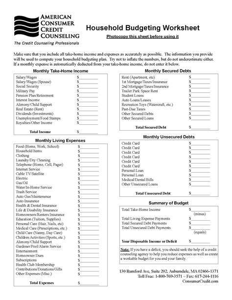 An American Worksheet Household Budgeting Worksheet Talking Cents