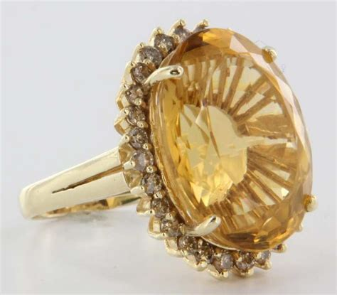 vintage 14 karat yellow gold citrine large