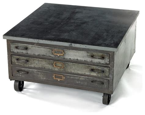industrial metal coffee table on wheels jpg