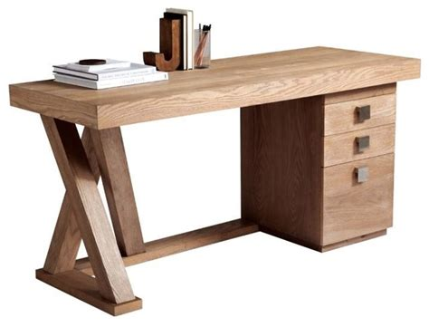 Modern Desk With Lightly Distressed Driftwood Finish Modern Desk Hutch