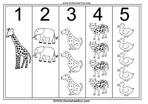 printable kindergarten numbers worksheets numbers 1 5 printable worksheets images