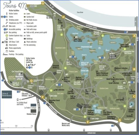 Map Of Melbourne Botanical Gardens Melbourne Map Toursmaps