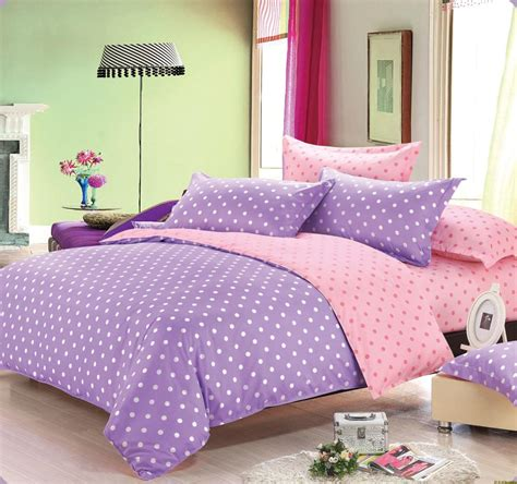 4pcs adult kids purple pink dot bedding set king queen