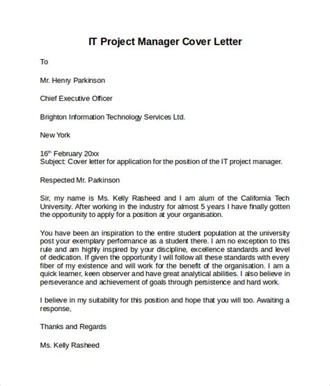 Capital Project Manager Cover Letter by Information Technology Cover Letter Template 8 Free Documents In Pdf Word
