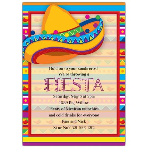 big sombrero fiesta invitations paperstyle