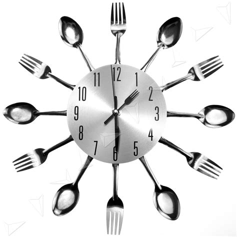 Cutlery Kitchen Wall Clock by Sliver Cutlery Utensil Wall Clock Fork Spoon Kitchen Clock