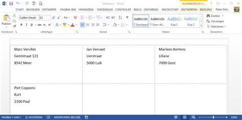 Etiketten Uit Excel Naar Word by Gratis Tips Word Adressenbestand Afdrukken Op Etiketten