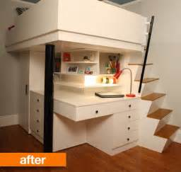 before after small city bedroom to custom lofted bed
