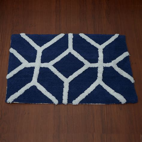 Navy Bathroom Rugs Navy And White Cotton Bath Rug 30x20 In Bath Bed Bath Home Store Shop Lc