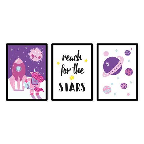 kinderzimmer bild rakete kinderzimmer bilder 3er poster set quot einhorn im weltraum