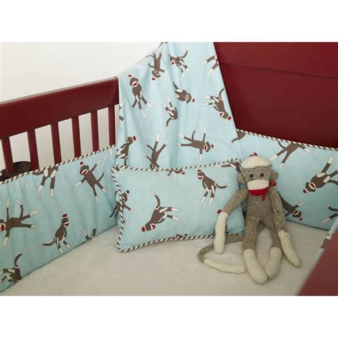 Sock Monkey Crib Sheets by Sock Monkey Crib Bedding In Blue By Maddie Boo