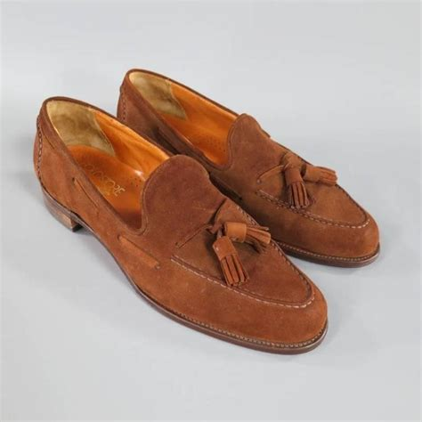 ralph loafers vintage ralph size 10 brown suede tassel loafers at