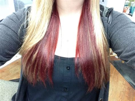 pictures of hair dark underneath my blonde hair with dark red underneath hair pinterest