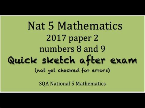 libro national 5 mathematics student 2017 sqa national 5 mathematics paper 2 nos 8 9 youtube
