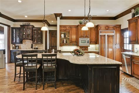 large kitchen island with seating depiction of allow room for dining with a large