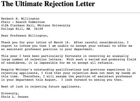 Rejection Letter After Trial For Those That Failed Their Exams