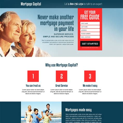 lead generation page template responsive mortgage landing page design for mortgage