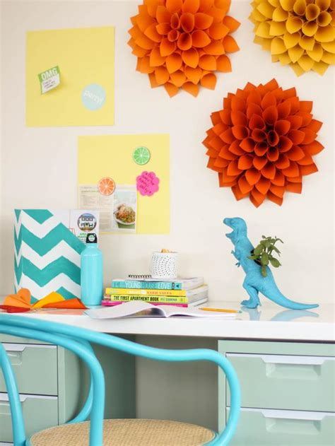 stunning wall accessories of paper flower above study